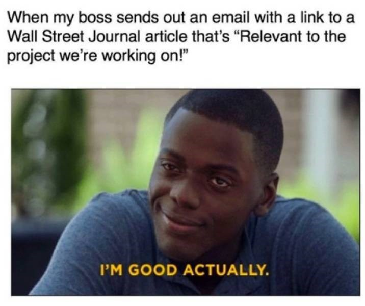"""work meme - Facial expression - When my boss sends out an email with a link to a Wall Street Journal article that's """"Relevant to the project we're working on!"""" P'M GOOD ACTUALLY."""
