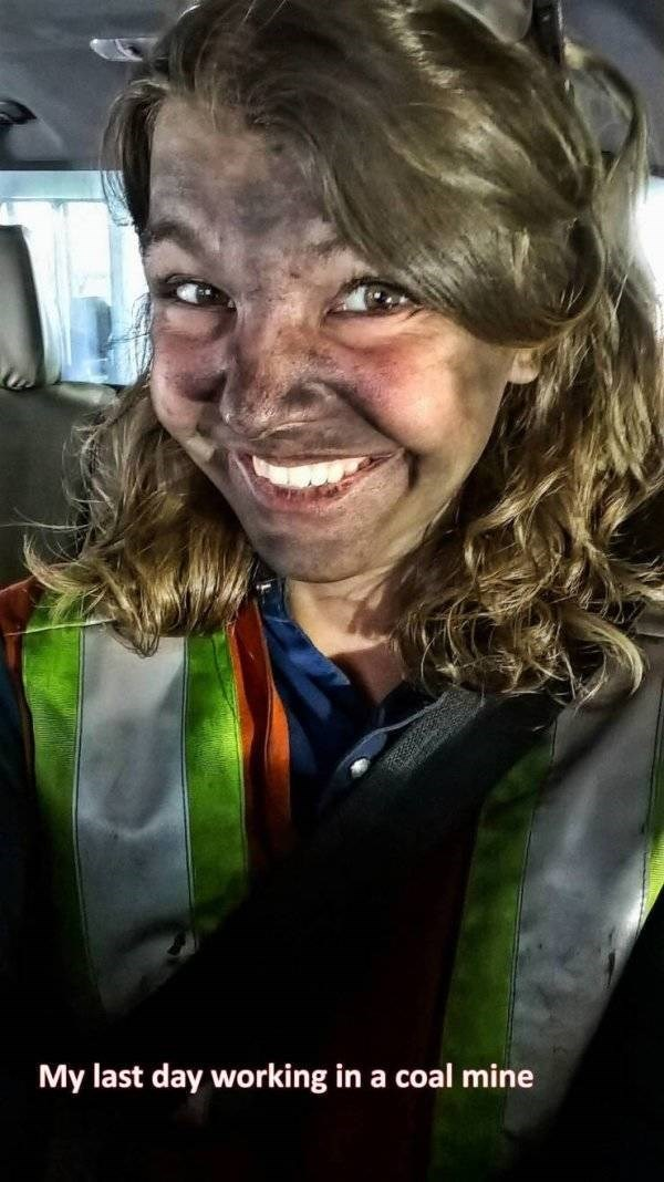 work meme - Facial expression - My last day working in a coal mine