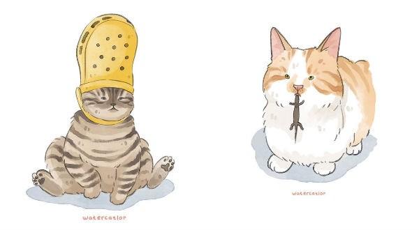 cat illustrations funny cats Cats animals cat memes - 9316101