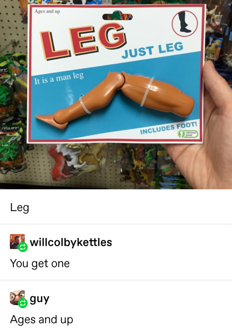 """Fake Obvious Plant product called """"Leg - just leg"""" that is just a Barbie leg"""