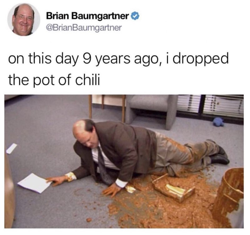 kevin dropped pot of chilli the office memes