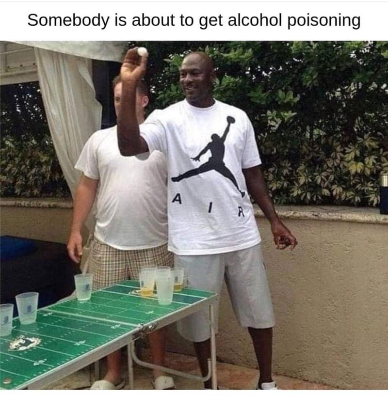 Michael Jordan playing beer pong