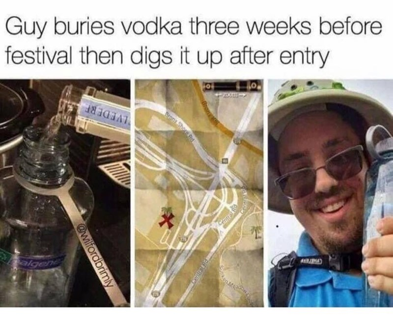 pics of a person pouring vodka into a bottle and marking down on a map where he buried it