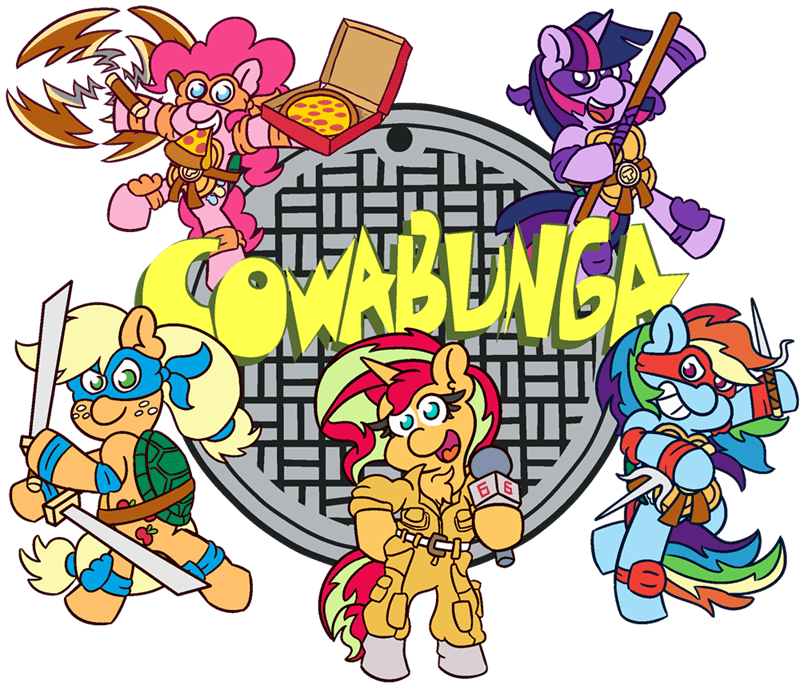 teenage mutant ninja turtles applejack twilight sparkle pinkie pie sunset shimmer threetwotwo32232 rainbow dash - 9316392960