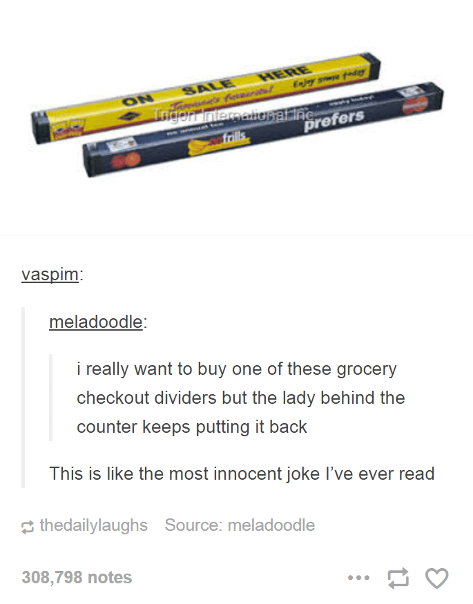Funny Tumblr post about someone who keeps trying to purchase the grocery store dividers at the checkout