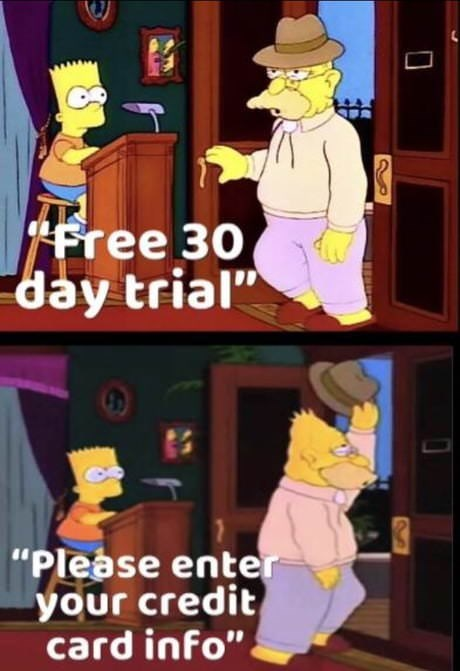 Simpsons meme about entering one's credit card information for a free 30-day trial