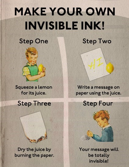 Text - MAKE YOUR OWN INVISIBLE INK! Step One Step Two Squeeze a lemon for its juice. Write a message on paper using the juice. Step Four Step Three Your message will be totally Dry the juice by burning the paper. invisible!
