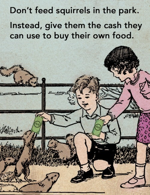 animal facts - Cartoon - Don't feed squirrels in the park. Instead, give them the cash they can use to buy their own food.