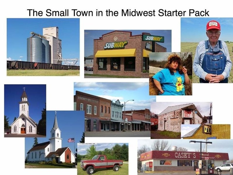Property - The Small Town in the Midwest Starter Pack SUBWAY SUBA SUBWAY BAR G GRILL neral tors CASEY'S DORUTS PIZZA