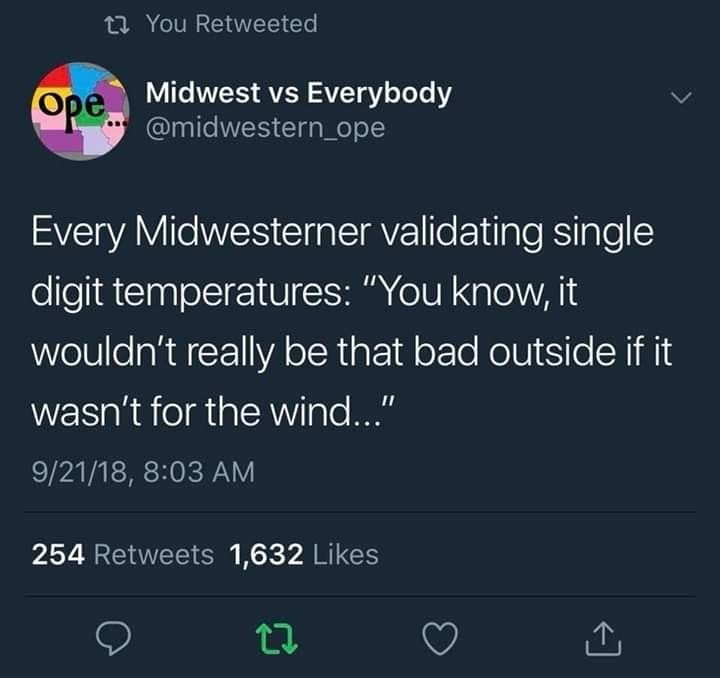 """Text - t You Retweeted Midwest vs Everybody @midwestern_ope Ope Every Midwesterner validating single digit temperatures: """"You know, it wouldn't really be that bad outside if it wasn't for the wind..."""" 9/21/18, 8:03 AM 254 Retweets 1,632 Likes"""