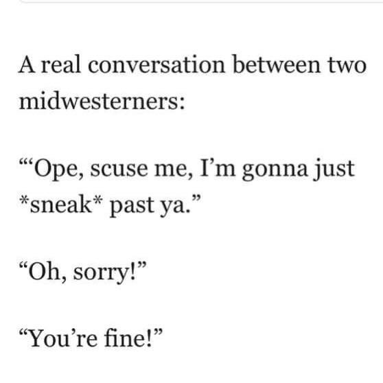 """Text - A real conversation between two midwesterners: """"Ope, scuse me, I'm gonna just sneak past ya."""" """"Oh, sorry! """"You're fine!"""""""