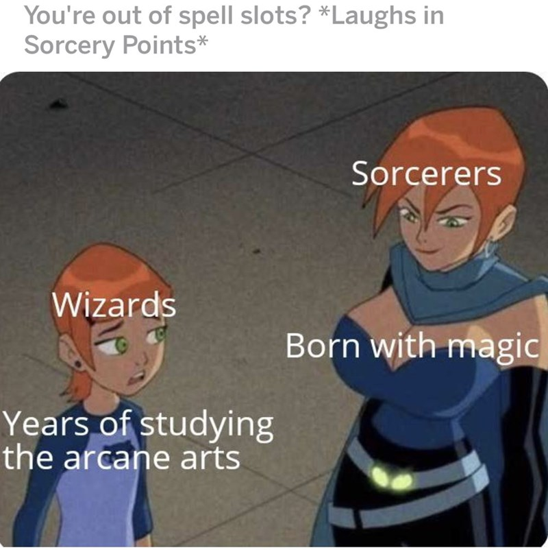 meme - Cartoon - You're out of spell slots? *Laughs in Sorcery Points* Sorcerers Wizards Born with magic Years of studying the arcane arts