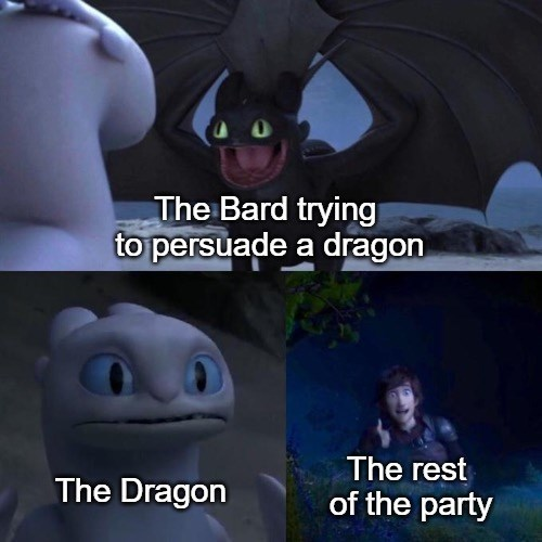 meme - Animation - The Bard trying to persuade a dragon The rest The Dragon of the party