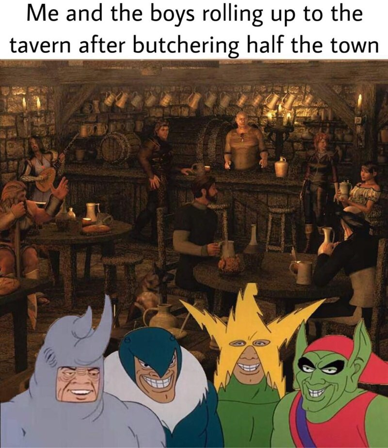funny meme of the boys in a dungeons and dragons setting