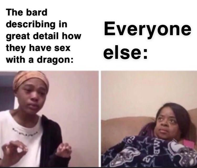 meme - Face - The bard describing in great detail how they have sex with a dragon: Everyone else: IMB