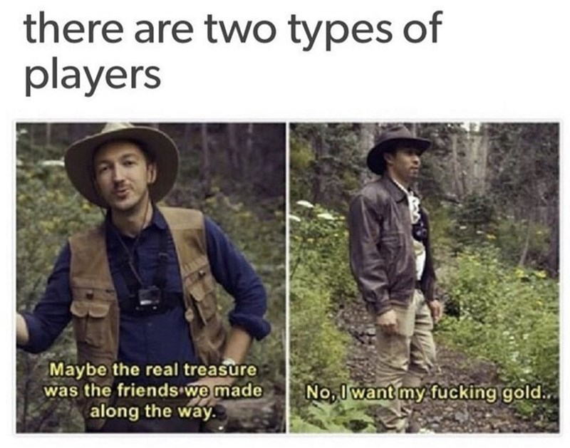 funny meme about two types of dungeons and dragons players with