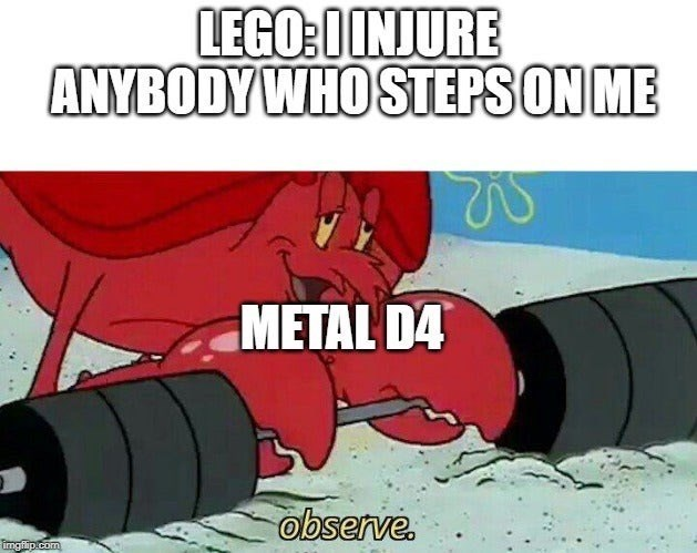funny meme of larry the lobster as a dangerous dungeons and dragons dice