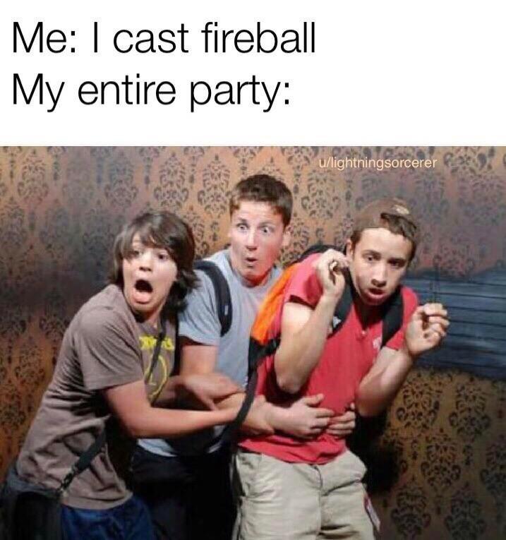 meme - People - Me: I cast fireball My entire party: u/lightningsorcerer