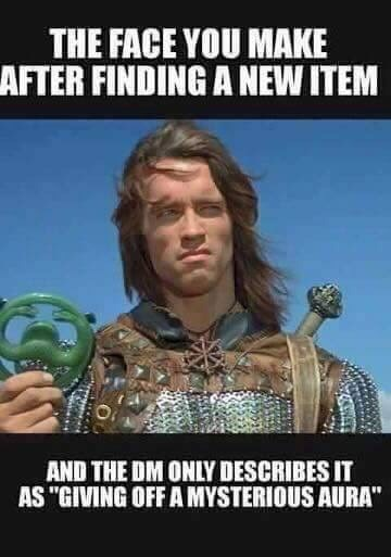 """meme - Photo caption - THE FACE YOU MAKE AFTER FINDING A NEW ITEM AND THE DM ONLY DESCRIBES IT AS """"GIVING OFF A MYSTERIOUS AURA"""""""