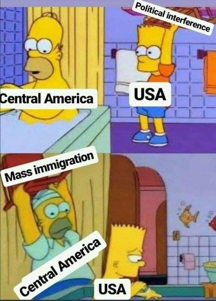 military memes - Cartoon - Political interference Central America USA Mass immigration Central America USA