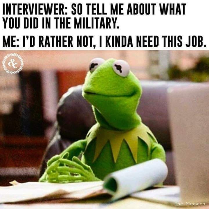 military memes - Adaptation - INTERVIEWER: SO TELL ME ABOUT WHAT YOU DID IN THE MILITARY ME: I'D RATHER NOT, I KINDA NEED THIS JOB. & The Muppets