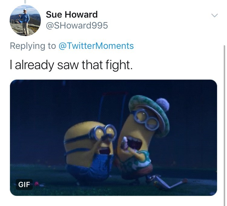 Technology - Sue Howard @SHoward995 Replying to @TwitterMoments I already saw that fight. GIF