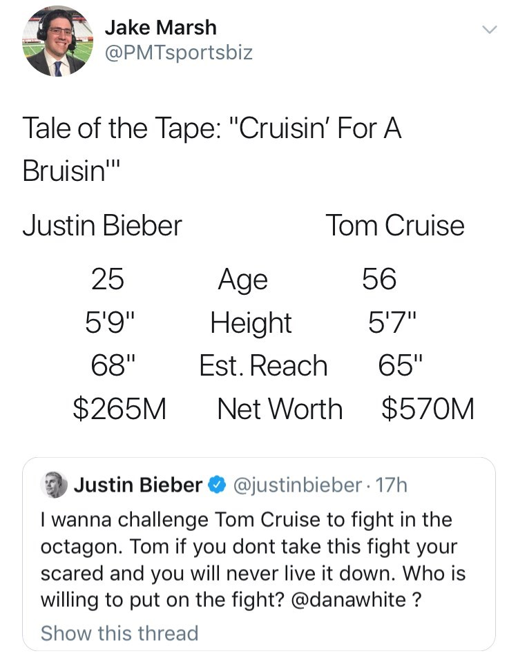 """Text - Jake Marsh @PMTsportsbiz Tale of the Tape: """"Cruisin' For A Bruisin"""" Justin Bieber Tom Cruise 56 25 Age 5'9"""" Height 5'7"""" Est. Reach 68"""" 65"""" $265M Net Worth $570M Justin Bieber @justinbieber 17h I wanna challenge Tom Cruise to fight in the octagon. Tom if you dont take this fight your scared and you will never live it down. Who is willing to put on the fight? @danawhite? Show this thread"""