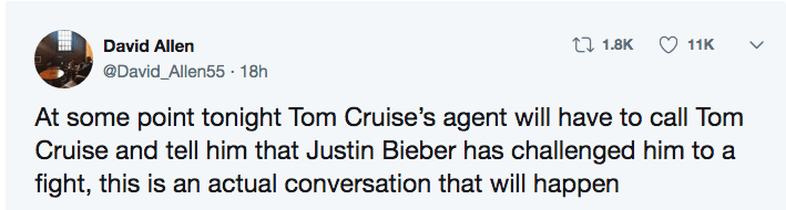 Twitter user points out that at some point Tom Cruise's agent will have to tell Tom Cruise that Justin Bieber challenged him to a fight.