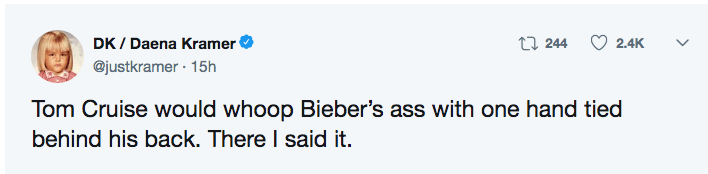 Twitter User says that Tom Cruise would kick Justin Bieber's butt with one hand tied behind his back.