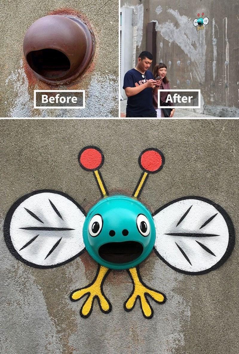 graffiti - Cartoon - After Before