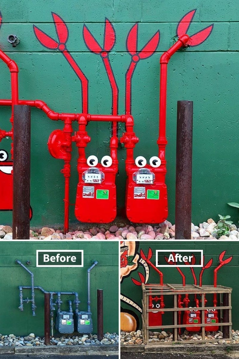 graffiti - Red - Before After