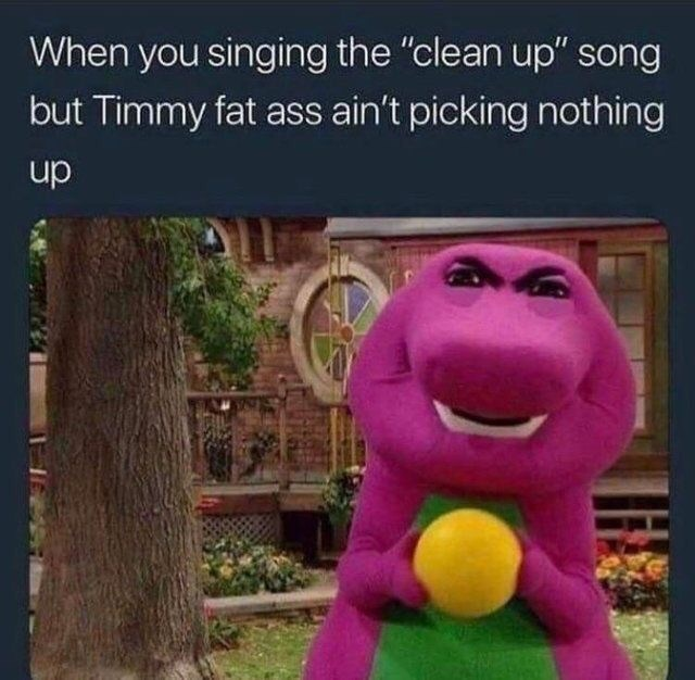 """Funny random meme that says, """"When you singing the 'clean up' song but Timmy fat ass ain't picking nothing up"""""""