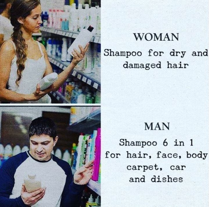 Text - WOMAN Shampoo for dry and damaged hair MAN Shampoo 6 in 1 for hair, face, body carpet, car and dishes