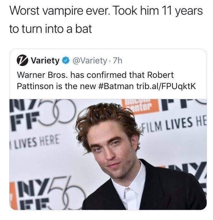 Funny tweet about Robert Pattinson being the new Batman