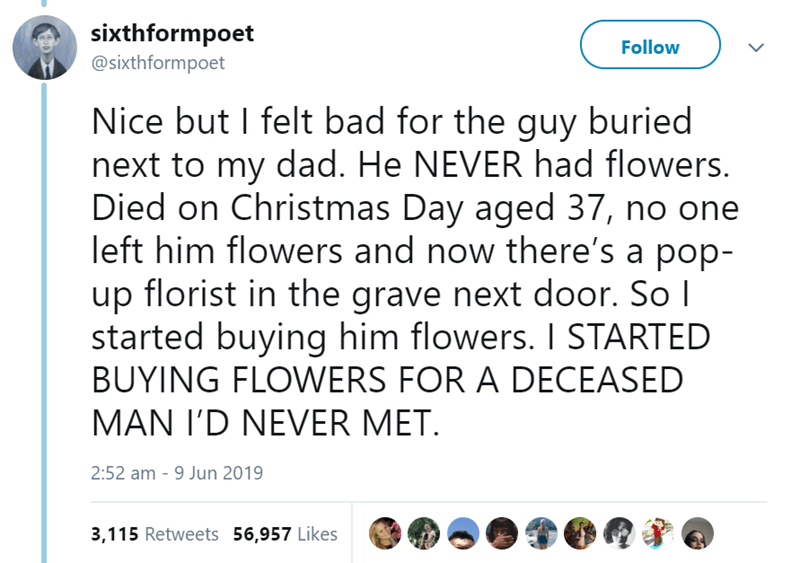 Text - sixthformpoet @sixthformpoet Follow Nice but I felt bad for the guy buried next to my dad. He NEVER had flowers. Died on Christmas Day aged 37, no one left him flowers and now there's a pop- up florist in the grave next door. So I started buying him flowers. I STARTED BUYING FLOWERS FOR A DECEASED MAN I'D NEVER MET 2:52 am - 9 Jun 2019 3,115 Retweets 56,957 Likes