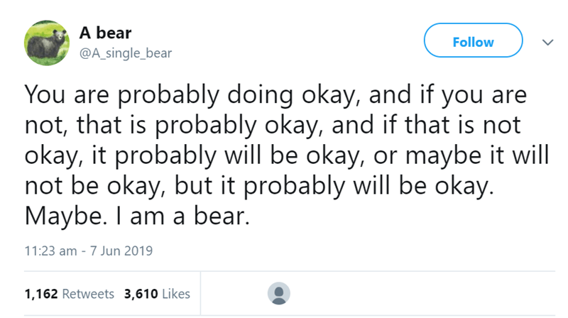 beart tweets - Text - A bear Follow @A_single_bear You are probably doing okay, and if you are not, that is probably okay, and if that is not okay, it probably will be okay, or maybe it will not be okay, but it probably will be okay. Maybe. I am a bear. 11:23 am - 7 Jun 2019 1,162 Retweets 3,610 Likes