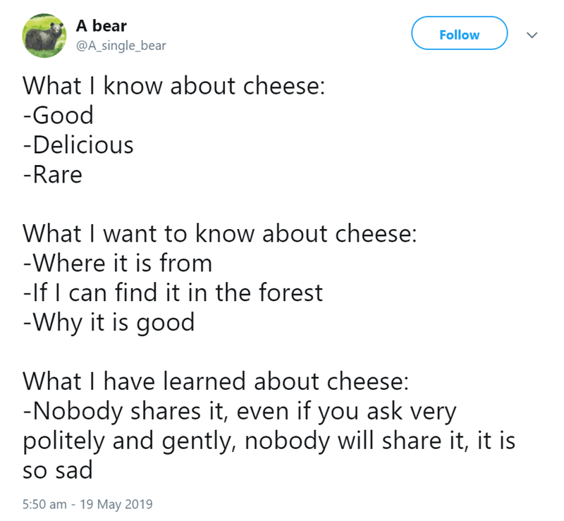 beart tweets - Text - A bear Follow @A_single_bear What I know about cheese: -Good -Delicious -Rare What I want to know about cheese: -Where it is from -lf I can find it in the forest -Why it is good What I have learned about cheese: -Nobody shares it, even if you ask very politely and gently, nobody will share it, it is so sad 5:50 am 19 May 2019