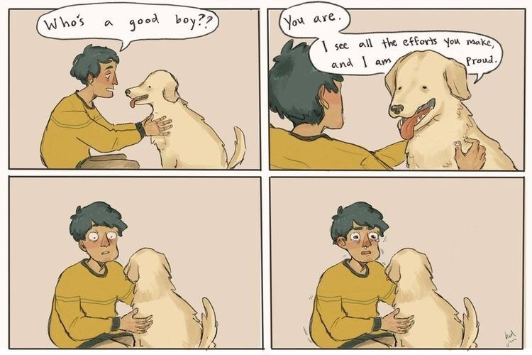 Wholesome comics about dog and man.