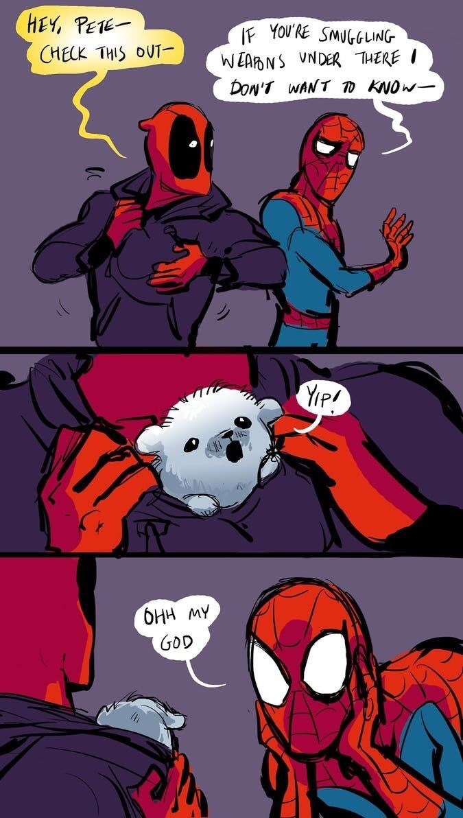 Wholesome comics of deadpool and spider-man with a cute animal.