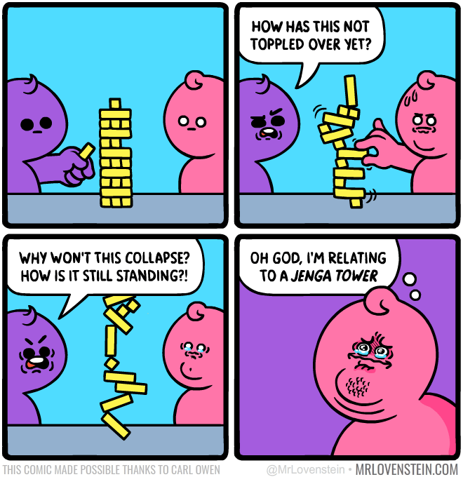 Comic about relating to jenga.
