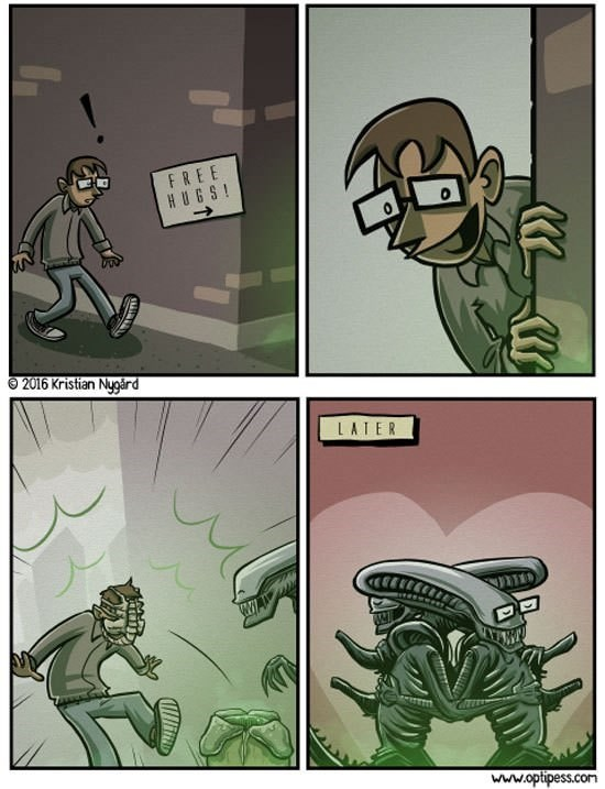 Wholesome comic about aliens, predator, free hugs.