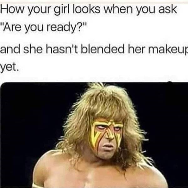 "funny pics - Face - How your girl looks when you ask ""Are you ready?"" and she hasn't blended her makeup yet."