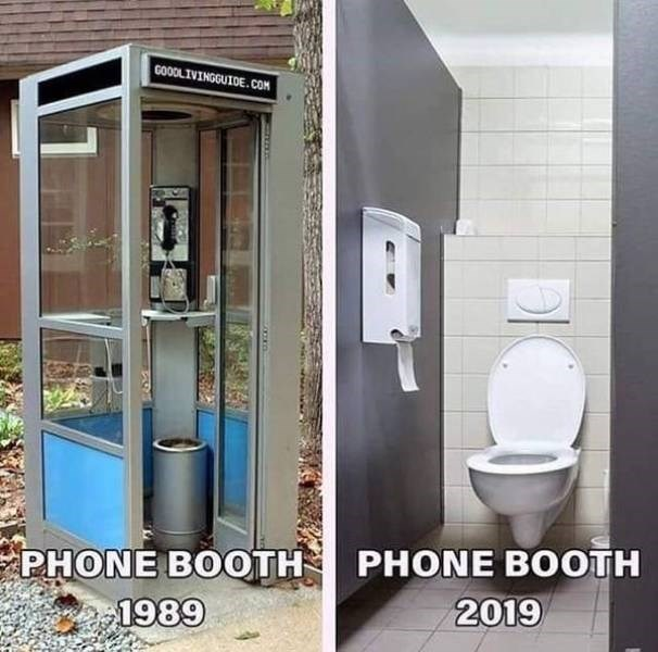 funny pics - Bathroom - GOODLIVINGGUIDE.COM PHONE BOOTH 2019 PHONE BOOTH 1989