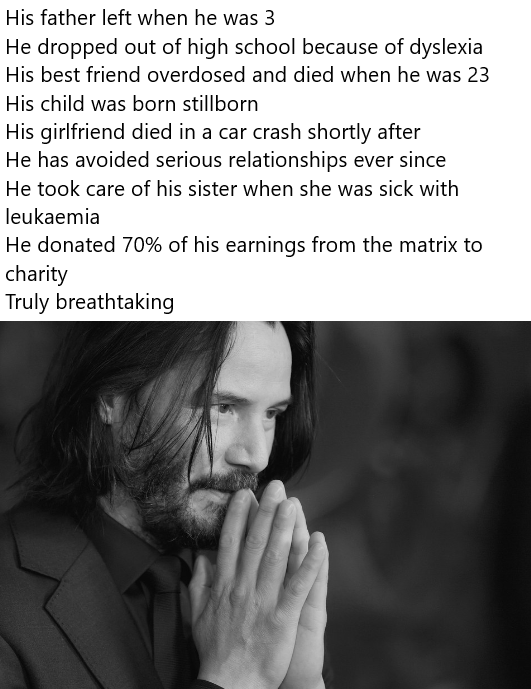 'Breathtaking' Keanu Reeves meme with a summary of Keanu Reeve's life so far