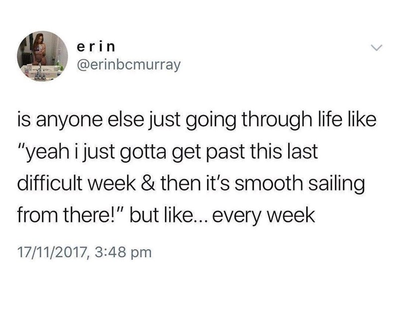 """sad spicy memes - Text - erin @erinbcmurray is anyone else just going through life like """"yeah i just gotta get past this last difficult week & then it's smooth sailing from there!"""" but like... every week 17/11/2017, 3:48 pm"""
