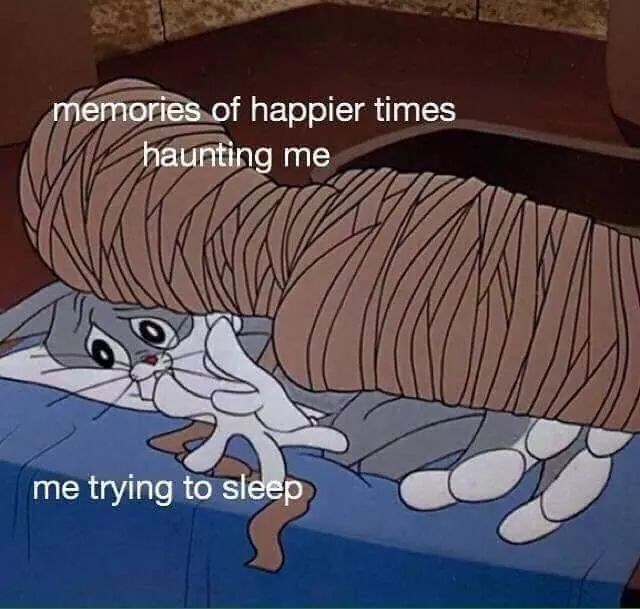 sad spicy memes - Cartoon - memories of happier times haunting me me trying to sleep