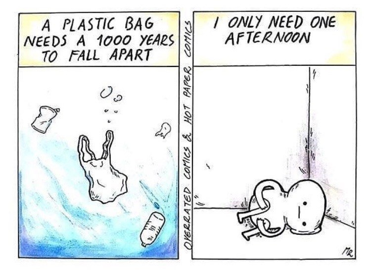 sad spicy memes - Text - / ONLY NEED ONE AFTERNOON A PLASTIC BAG NEEDS A 1000 YEARS TO FALL APART 1 MR OYERRATED COMICS & HOT PAPER COMICS