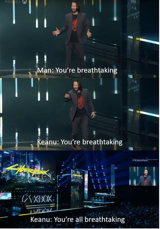 'Breathtaking' Keanu Reeves meme where he calls the entire audience breathtaking
