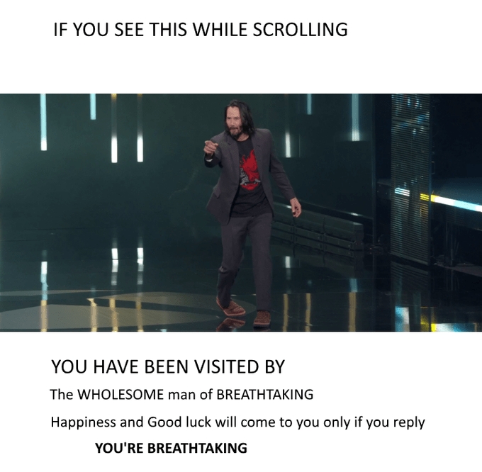 'Breathtaking' Keanu Reeves meme