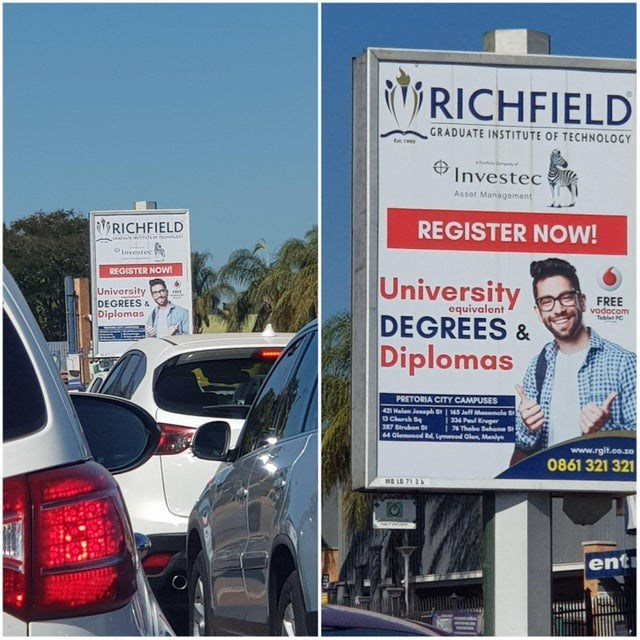 Motor vehicle - RICHFIELD GRADUATE INSTITUTE OF TECHNOLOCY t Investec Asset Management REGISTER NOW! RICHFIELD OInsestec REGISTER NOW University DEGREES & Diplomas University DEGREES & Diplomas FREE vodacoe equivalont adcom PRETORIA CITY CAMPUSES 421 Halen Jesph 1 145 Jel Mael 334 PKger i 74 Thobe Sume S 3 Chrsh S 287 Strben 64 Oled d ydClen Manly www.rgit.co.za 0861 321 321 ent
